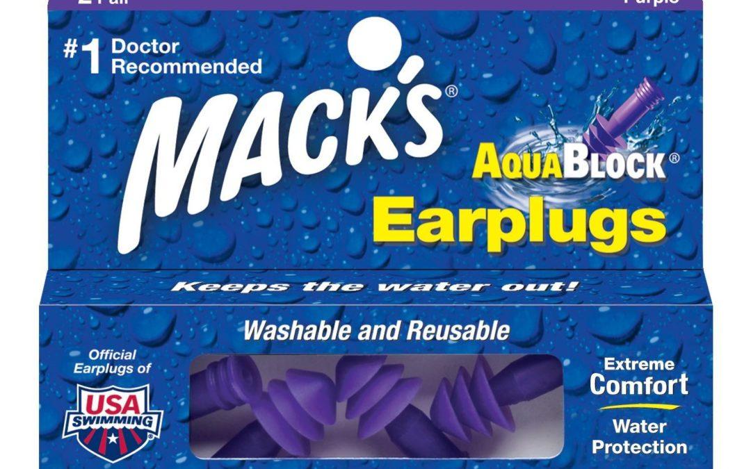 Macks Earplugs Aquablock Purple Soft Silicone 2 Pairs